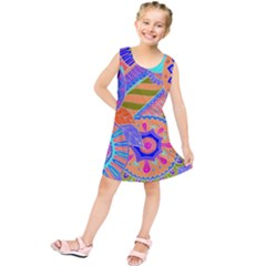 Pop Art Paisley Flowers Ornaments Multicolored 3 Kids  Tunic Dress