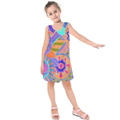Pop Art Paisley Flowers Ornaments Multicolored 3 Kids  Sleeveless Dress