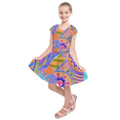 Pop Art Paisley Flowers Ornaments Multicolored 3 Kids  Short Sleeve Dress