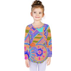 Pop Art Paisley Flowers Ornaments Multicolored 3 Kids  Long Sleeve Tee