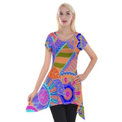 Pop Art Paisley Flowers Ornaments Multicolored 3 Short Sleeve Side Drop Tunic