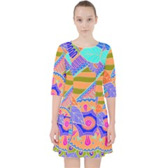 Pop Art Paisley Flowers Ornaments Multicolored 3 Pocket Dress