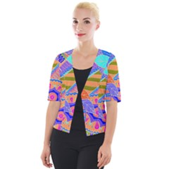 Pop Art Paisley Flowers Ornaments Multicolored 3 Cropped Button Cardigan