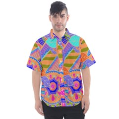Pop Art Paisley Flowers Ornaments Multicolored 3 Men s Short Sleeve Shirt