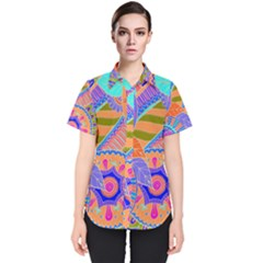Pop Art Paisley Flowers Ornaments Multicolored 3 Women s Short Sleeve Shirt