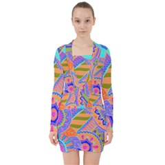 Pop Art Paisley Flowers Ornaments Multicolored 3 V Neck Bodycon Long Sleeve Dress