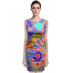 Pop Art Paisley Flowers Ornaments Multicolored 3 Sleeveless Velvet Midi Dress