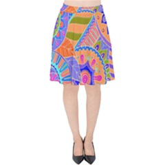 Pop Art Paisley Flowers Ornaments Multicolored 3 Velvet High Waist Skirt