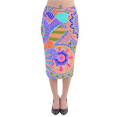 Pop Art Paisley Flowers Ornaments Multicolored 3 Velvet Midi Pencil Skirt
