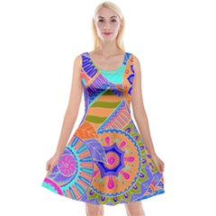 Pop Art Paisley Flowers Ornaments Multicolored 3 Reversible Velvet Sleeveless Dress