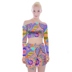 Pop Art Paisley Flowers Ornaments Multicolored 3 Off Shoulder Top With Mini Skirt Set