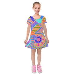 Pop Art Paisley Flowers Ornaments Multicolored 3 Kids  Short Sleeve Velvet Dress