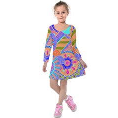 Pop Art Paisley Flowers Ornaments Multicolored 3 Kids  Long Sleeve Velvet Dress