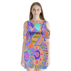 Pop Art Paisley Flowers Ornaments Multicolored 3 Shoulder Cutout Velvet One Piece