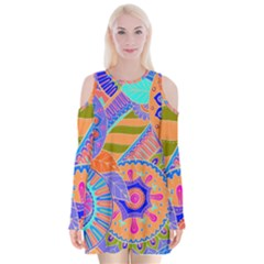 Pop Art Paisley Flowers Ornaments Multicolored 3 Velvet Long Sleeve Shoulder Cutout Dress