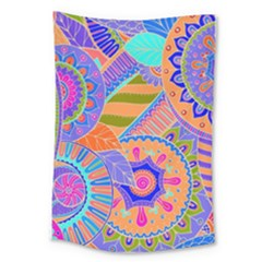 Pop Art Paisley Flowers Ornaments Multicolored 3 Large Tapestry