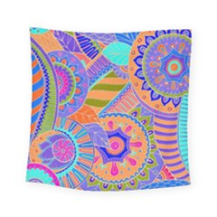 Pop Art Paisley Flowers Ornaments Multicolored 3 Square Tapestry (small)