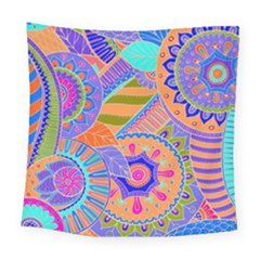 Pop Art Paisley Flowers Ornaments Multicolored 3 Square Tapestry (large)
