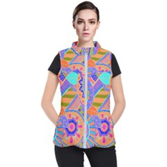 Pop Art Paisley Flowers Ornaments Multicolored 3 Women s Puffer Vest