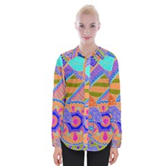 Pop Art Paisley Flowers Ornaments Multicolored 3 Womens Long Sleeve Shirt