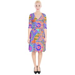 Pop Art Paisley Flowers Ornaments Multicolored 3 Wrap Up Cocktail Dress