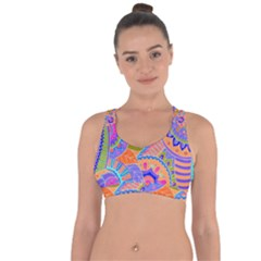 Pop Art Paisley Flowers Ornaments Multicolored 3 Cross String Back Sports Bra