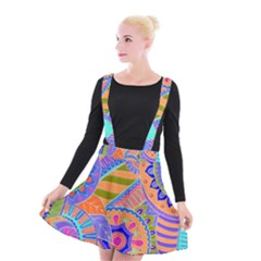 Pop Art Paisley Flowers Ornaments Multicolored 3 Suspender Skater Skirt