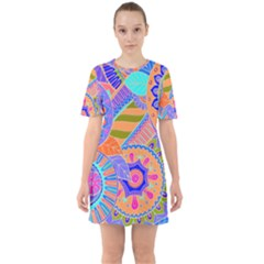 Pop Art Paisley Flowers Ornaments Multicolored 3 Sixties Short Sleeve Mini Dress