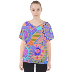 Pop Art Paisley Flowers Ornaments Multicolored 3 V Neck Dolman Drape Top