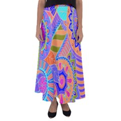 Pop Art Paisley Flowers Ornaments Multicolored 3 Flared Maxi Skirt