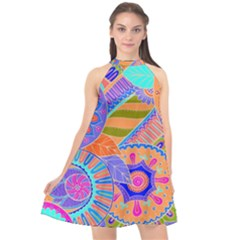 Pop Art Paisley Flowers Ornaments Multicolored 3 Halter Neckline Chiffon Dress
