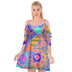 Pop Art Paisley Flowers Ornaments Multicolored 3 Cutout Spaghetti Strap Chiffon Dress