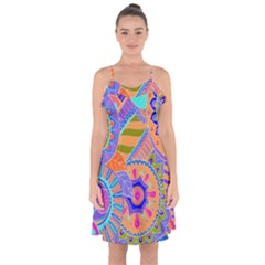 Pop Art Paisley Flowers Ornaments Multicolored 3 Ruffle Detail Chiffon Dress
