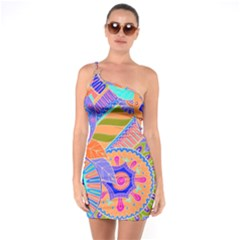Pop Art Paisley Flowers Ornaments Multicolored 3 One Soulder Bodycon Dress