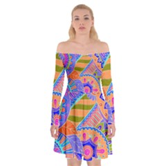Pop Art Paisley Flowers Ornaments Multicolored 3 Off Shoulder Skater Dress