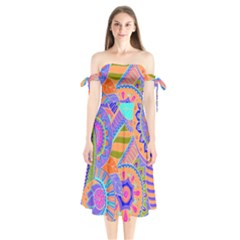 Pop Art Paisley Flowers Ornaments Multicolored 3 Shoulder Tie Bardot Midi Dress