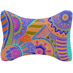 Pop Art Paisley Flowers Ornaments Multicolored 3 Seat Head Rest Cushion