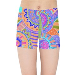 Pop Art Paisley Flowers Ornaments Multicolored 3 Kids Sports Shorts