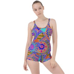 Pop Art Paisley Flowers Ornaments Multicolored 3 Boyleg Tankini Set