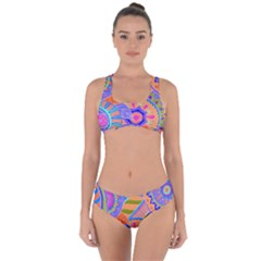 Pop Art Paisley Flowers Ornaments Multicolored 3 Criss Cross Bikini Set