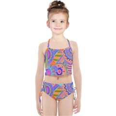 Pop Art Paisley Flowers Ornaments Multicolored 3 Girls  Tankini Swimsuit