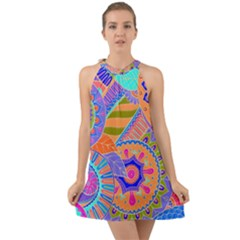 Pop Art Paisley Flowers Ornaments Multicolored 3 Halter Tie Back Chiffon Dress