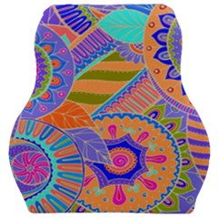 Pop Art Paisley Flowers Ornaments Multicolored 3 Car Seat Velour Cushion