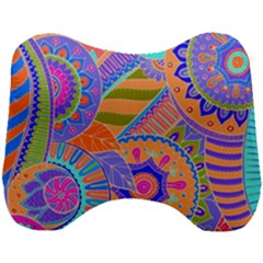 Pop Art Paisley Flowers Ornaments Multicolored 3 Head Support Cushion