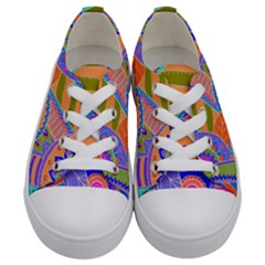 Pop Art Paisley Flowers Ornaments Multicolored 3 Kids  Low Top Canvas Sneakers