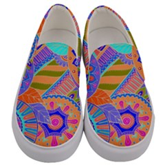 Pop Art Paisley Flowers Ornaments Multicolored 3 Men s Canvas Slip Ons
