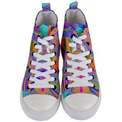 Pop Art Paisley Flowers Ornaments Multicolored 3 Women s Mid Top Canvas Sneakers