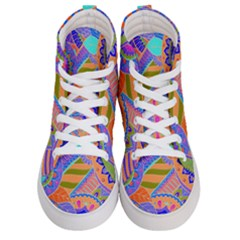 Pop Art Paisley Flowers Ornaments Multicolored 3 Women s Hi Top Skate Sneakers