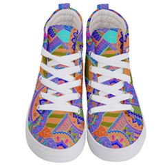 Pop Art Paisley Flowers Ornaments Multicolored 3 Kid s Hi Top Skate Sneakers