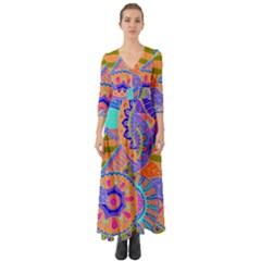 Pop Art Paisley Flowers Ornaments Multicolored 3 Button Up Boho Maxi Dress